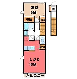 栃木県真岡市荒町4の賃貸アパートの間取り