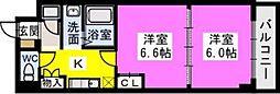 ユニティ美野島[402号室]の間取り