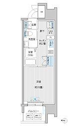 JR南武線 武蔵新城駅 徒歩6分の賃貸マンション 12階1Kの間取り
