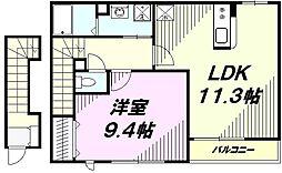 JR中央線 八王子駅 バス19分 梅坪町下車 徒歩1分の賃貸アパート 2階1LDKの間取り