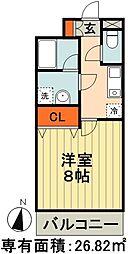 JR総武線 千葉駅 徒歩13分の賃貸マンション 3階1Kの間取り