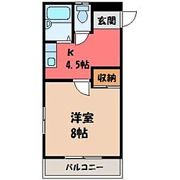 栃木県宇都宮市下戸祭2丁目の賃貸アパートの間取り