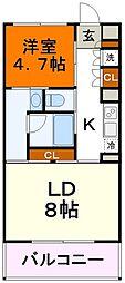 西武国分寺線 恋ヶ窪駅 徒歩13分の賃貸マンション 2階ワンルームの間取り