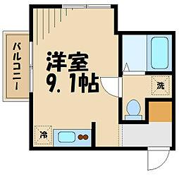 JR横浜線 相原駅 徒歩7分の賃貸アパート 2階ワンルームの間取り