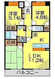 東武東上線 川越駅 徒歩7分の賃貸マンション 5階3LDKの間取り