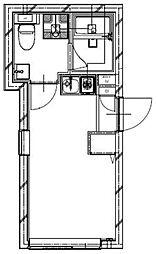 Ludens高円寺 2階ワンルームの間取り