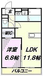 埼玉県入間市扇台2丁目の賃貸アパートの間取り