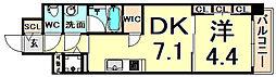 阪神本線 西宮駅 徒歩5分の賃貸マンション 5階1DKの間取り