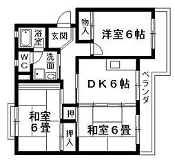 滋賀県栗東市安養寺7丁目の賃貸マンションの間取り