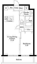 東急東横線 都立大学駅 徒歩8分の賃貸マンション 地下1階1LDKの間取り