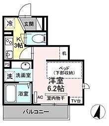 小田急小田原線 生田駅 徒歩5分の賃貸アパート 2階1Kの間取り
