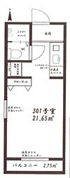 JR京浜東北・根岸線 大宮駅 徒歩8分の賃貸アパート 3階ワンルームの間取り