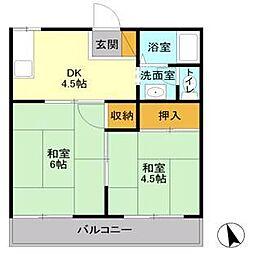 JR高崎線 宮原駅 徒歩14分の賃貸アパート 2階2DKの間取り