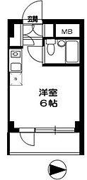 西武新宿線 東村山駅 徒歩11分の賃貸マンション 1階ワンルームの間取り