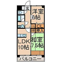 東京都東大和市清水5丁目の賃貸マンションの間取り
