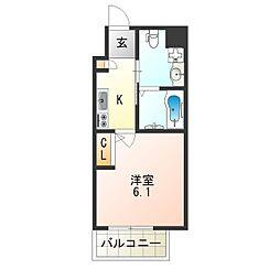 阪急京都本線 上新庄駅 徒歩3分の賃貸マンション 3階1Kの間取り