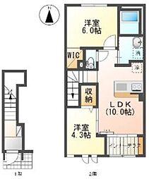 東武越生線 東毛呂駅 徒歩8分の賃貸アパート 2階2LDKの間取り