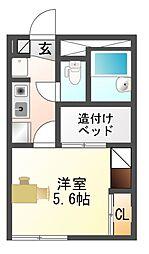 愛知県豊川市松久町2丁目の賃貸アパートの間取り