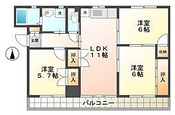 愛知県豊田市豊栄町3丁目の賃貸マンションの間取り