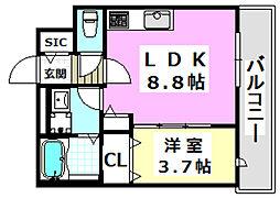 大阪モノレール 南摂津駅 徒歩1分の賃貸マンション 2階1LDKの間取り