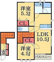 千葉県市原市五井東2丁目の賃貸アパートの間取り