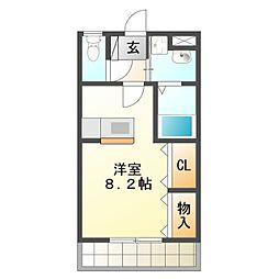 愛知県豊橋市神野新田町字ルノ割の賃貸アパートの間取り