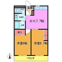 千葉県船橋市夏見台4丁目の賃貸マンションの間取り