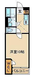 JR川越線 南古谷駅 徒歩18分の賃貸アパート 1階1Kの間取り