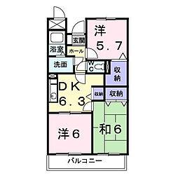 神奈川県厚木市温水西2丁目の賃貸マンションの間取り