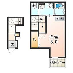近鉄南大阪線 河内天美駅 徒歩14分の賃貸アパート 2階ワンルームの間取り
