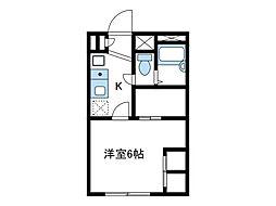 神奈川県海老名市大谷北4の賃貸アパートの間取り