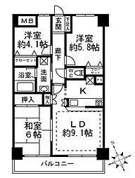 エクレールコート国分寺[6階]の間取り