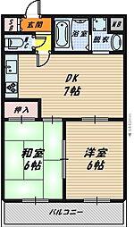 大阪府大阪市旭区今市2丁目の賃貸マンションの間取り