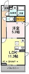 JR中央線 豊田駅 徒歩7分の賃貸アパート 2階1LDKの間取り