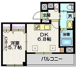 (仮称)富士見台4丁目HBS計画 4階1DKの間取り