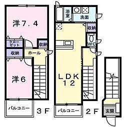 新潟県燕市井土巻2丁目の賃貸アパートの間取り