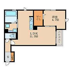 仮称)栗東市小柿1丁目DroomB 2階1LDKの間取り
