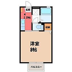 栃木県小山市大字外城の賃貸アパートの間取り