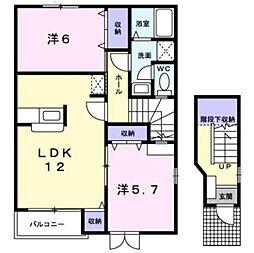 名鉄名古屋本線 東岡崎駅 バス22分 東蔵前下車 徒歩2分の賃貸アパート 2階2LDKの間取り