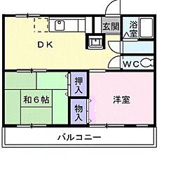 愛知県豊橋市東岩田3丁目の賃貸アパートの間取り