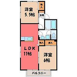 栃木県下野市小金井3丁目の賃貸アパートの間取り