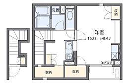 西武池袋線 所沢駅 徒歩7分の賃貸アパート 2階1Kの間取り