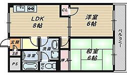 大阪府堺市堺区香ヶ丘町5丁の賃貸マンションの間取り