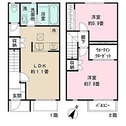 H&Kハウス 1階2LDKの間取り
