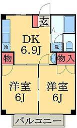 千葉県千葉市中央区花輪町の賃貸アパートの間取り