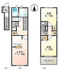 愛知県名古屋市名東区本郷1丁目の賃貸アパートの間取り