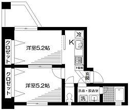 ソレーユ板橋 4階2Kの間取り