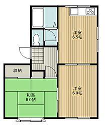JR埼京線 与野本町駅 徒歩29分の賃貸アパート 1階2DKの間取り