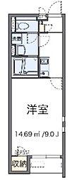 JR東北本線 蓮田駅 徒歩18分の賃貸アパート 2階1Kの間取り