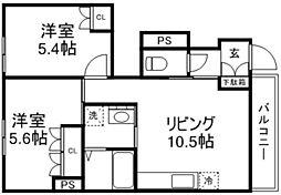 マミーユ2[1階]の間取り